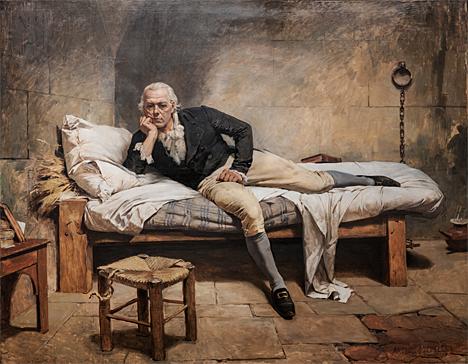 Miranda en La Carraca, pintura de Arturo Michelena, de 1896, con motivo de cumplirse ochenta años de la muerte de Francisco de Miranda, el 14 de julio de 1816 en la prisión de La Carraca, España.