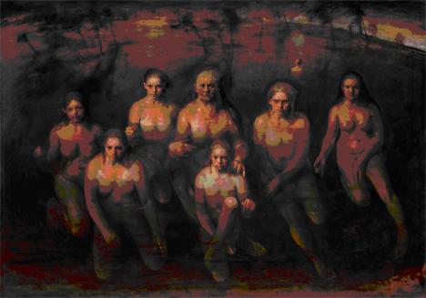 Odd Nerdrum, Maenads, 2014, óleo sobre tela, 190,5 x 269 cm